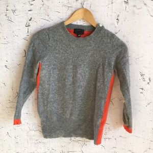 J CREW GREY ORANGE COLOR BLOCK SWEATER WOOL S